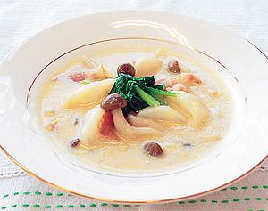 カブとコーンのクリームスープ