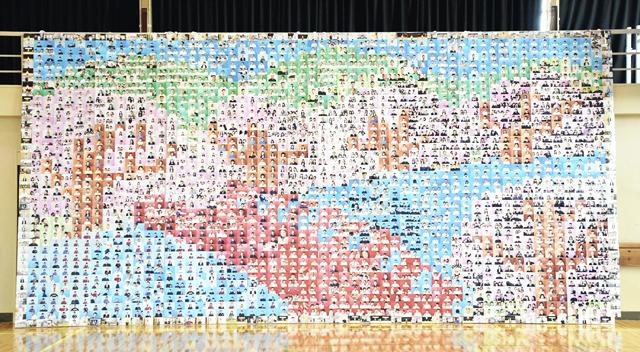 復興願うモニュメント 顔写真2300枚つなぐ、小高産技高が公開
