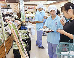 会津農林高生が「余蒔きゅうり」PR 学校で育てた伝統野菜