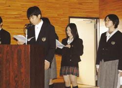 遠野高校でNIE活動発表会
