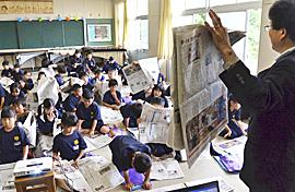 新聞の役割「わかった」 いわき・平六小で「まなぶん」教室